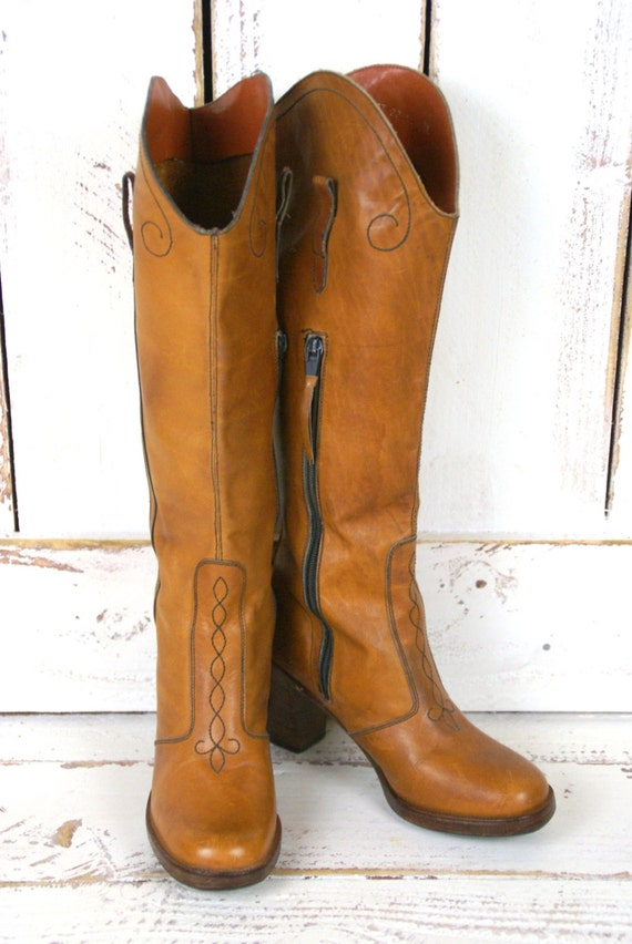 70s leather fitted knee high vintage by