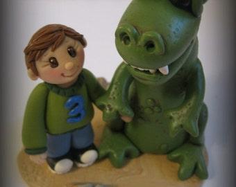 Dinosaur Birthday Cake Topper, T-Rex, Birthday, Birthday Cake Topper, Polymer Clay, Keepsake