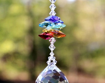 mw All Swarovski® Crystal, 30mm MOZART BALL & Chakra Color Octagons Sun Catcher Car Charm or Home Window Ornament, Pearl Place N More
