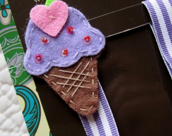 Girl Pacifier Clip, Ice Cream Cone Pacifier Clip, Purple Ice Cream Pacifier Holder, pccone03
