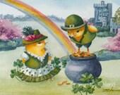 Ireland Rainbow Print 8x10 Baby Chicks Ferdinand and Nina Wall Art for Kids by Janet Zeh