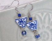 Yin and Yang Earrings - Triangular blue and white ceramic beads