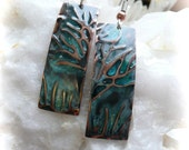 Tree earrings, embossed jewelry, copper green patina, hand made earrings, trees, nature jewelry, nature art jewelry