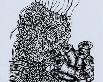 Jellyfish Mini Screenprint 4x6