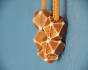 brown minimalist polyhedron necklace - geometric - modern