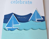 Sailboat Card, Nautical 3D Greeting Card, Masculine Birthday Card, Blue and White, Braille Message Inside