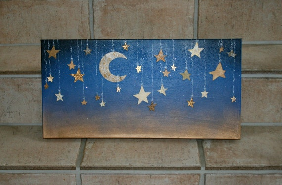 Starry Night With Hanging Moon And Stars In Cut Designer Paper