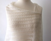 ecru silk lace shawl wedding stole made to order bridal wrap handknit luxurious - KnitsDeLuxe