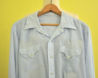 Mens Blue Gingham Western Shirt M //1970s Pearl Snaps