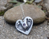 Little Piggy Customized Footprint Heart Necklace with Birthstone
