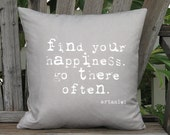 Find Your Happiness Pillow Cover - Quote Pillow - 16x 18x 20x 22x 24x 26x 28x 30x 32x Inch Linen Cotton Cushion Cover