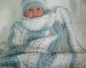 Crochet Baby Blanket Lacy Stripes in Blue and Pearl White Boy