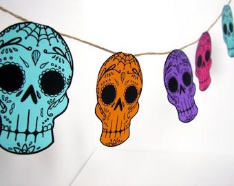 Printable Sugar Skull Garland- DIY decor - Day of the Dead  - Dia de los Muertos -