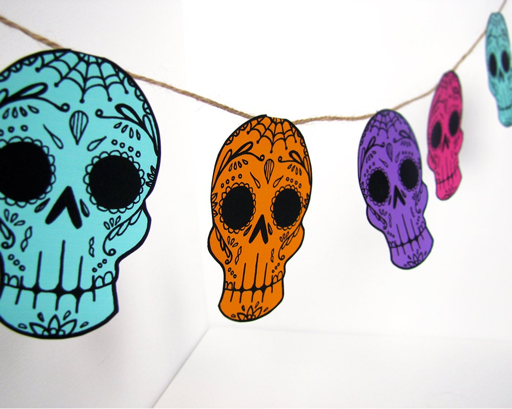 Printable Sugar Skull Garland DIY decor Day of the Dead