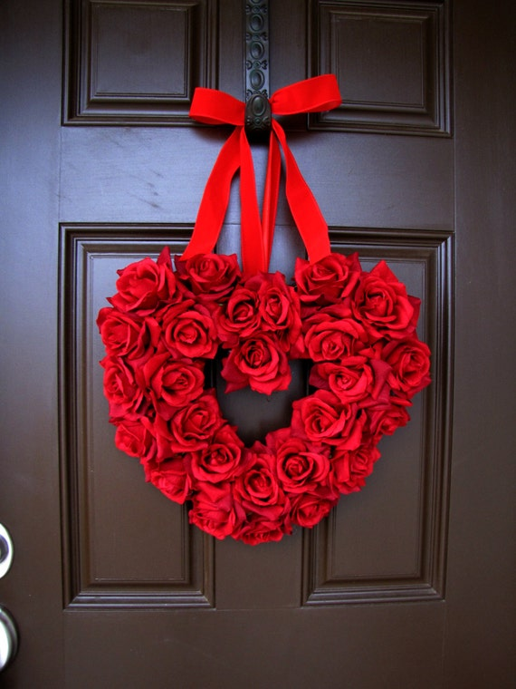 Valentine's Day Red Roses Heart Wreath with Red Ribbon, Anniversary Wreath, Etsy Wreath, Winter Wreath, Double Front Doors Wreaths