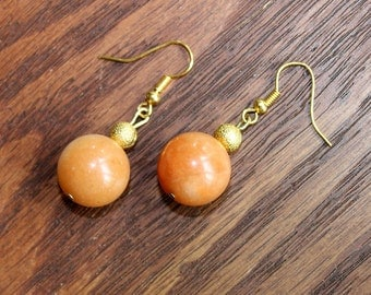 Orange Stone Earrings with Gold Accents