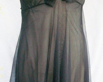 CLEARANCE!!!   VINTAGE Chiffon NIGHTGOWN, 1960's Black, Crystal Pleated Shawl Collar, Plunging Neckline, Double Layer of Chiffon, Gorgeous