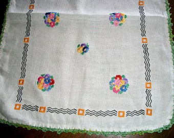 VINTAGE Linen RUNNER, Large Piece w/Embroidered Bouquets, Zig-Zags & Squares, Tatted Edges, HandmadeTable Linen, Cottage Home