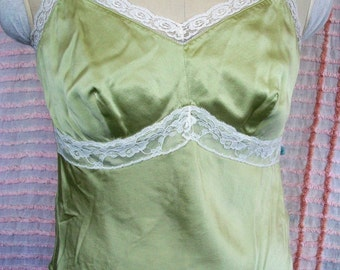 Green SILK CAMISOLE,  Vintage Sage & Cream Lace Top Or Lingerie Piece, Size 4, Spring Summer Must Have