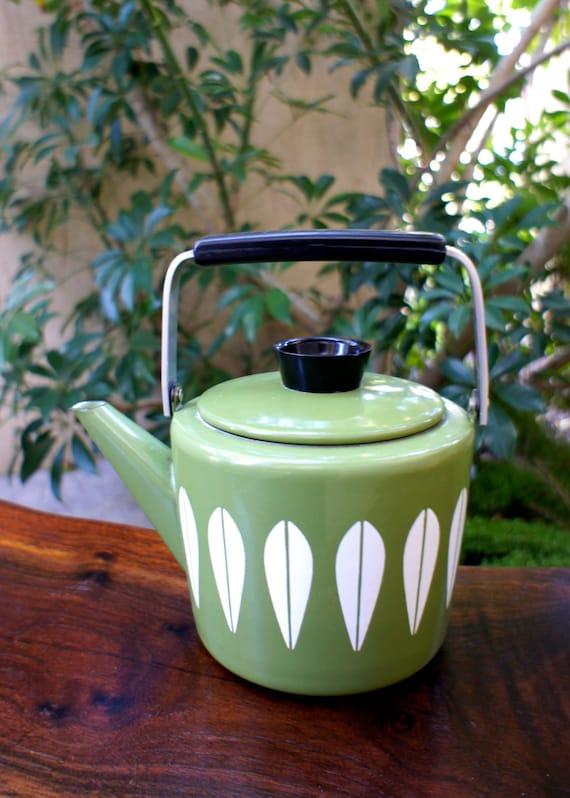 Vintage Green Cathrineholm Tea Kettle Vintage Mod 1950s Or