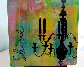 Shine Chandelier Print Mounted on Wood