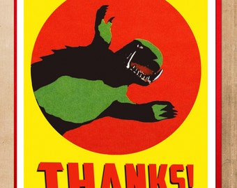 Thank You Card, Monster Card, Thanks, Kaiju, Gamera, Kaiju art, MST3k, Thank you, Geekery, Alternate Histories,