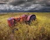 Abandoned Farm Tractor on the Prairie in North Dakota A Rural Fine Art Landscape Photograph