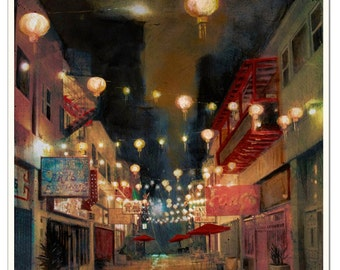 """Lights on Chung King - Fine art print - 16 x 20"""" - Signed by the artist"""