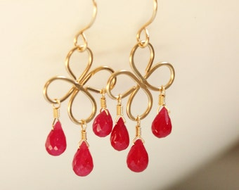 Ruby Earrings, 14k Gold Filled, Clover, Raspberry Red Gemstone, July Birthstone - Gia