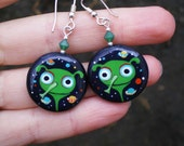 Handpainted Martian Earrings (ready to ship)