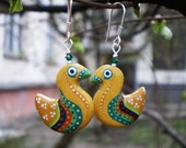 Yellow Bird Earrings, Handpainted and Handsculpted, Cute and Tiny (ready to ship)