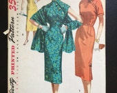 Vintage 1950's Simplicity 1447 Misses Cheongsam Dress and Stole Size 13 Bust 31