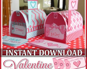 Valentine Mailboxes With Love Note Cards, Mini Mailbox Template   Printable  INSTANT DOWNLOAD