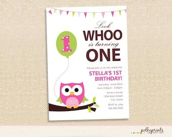 OWL Birthday invitations - set of 15