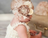 Baby Girl Headband - Baby Headband - Beige Flower Headband  -  Vintage Baby Headband - Flower Girl Headband - Over the Top Headband