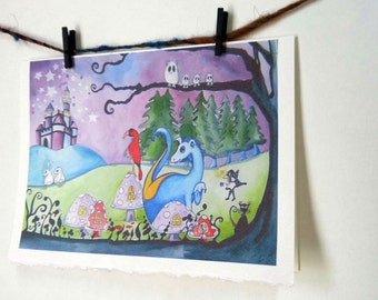 "Dragon Fairytale Magical Night Wall Art Card Print ""Magic By Moonlight"" -- Notecards w/Envelopes Stationary"