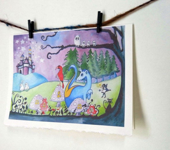 """Dragon Fairytale Magical Night Wall Art Card Print """"Magic By Moonlight"""" -- Notecards w/Envelopes Stationary"""