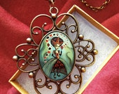 Queen of Hearts Necklace - Alice in Wonderland Pendant - Fantasy Jewelry
