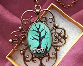 Spooky Skull Tree Pendant - Bronze Steampunk Necklace - Gothic Jewelry