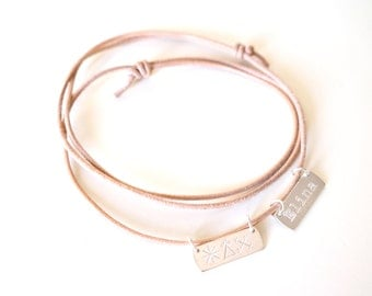Personalized Name and I ASK FOR collection Bracelet - 2 engraved sterling silver 925 pendants on leather cord