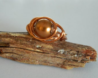 Pearl Ring Wire Wrapped Ring Swarovski Bronze Glass Pearl Natural Copper Wire