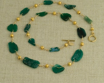Roman Glass Necklace Green Ancient Gold