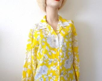 1960s Floral Print Blouse Vintage Semi-Sheer Long Sleeve Shirt