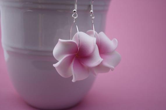 Flower Earrings Plumeria, Frangipani Floral Earrings, Hawaii Jewelry Hawaiian Jewelry Tropical Flower Flower Jewelry Floral Jewelry Maui 117