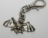 Silver Bat Zipper Pull Backpack Clip on Charm Purse Fob Gothic