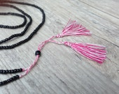 Long Tassel Necklace, Black Beaded and Red Tassels Necklace, Everyday Dainty Necklace, Delicate Bohemian Santorini Necklace, Gift for Her