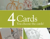 Pick any 4 letterpress printed cards, Value pack, eco-friendly