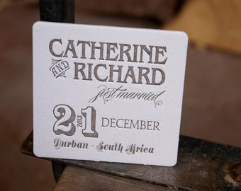 50 CUSTOM Coasters, modern design (Letterpress printed, 3.5 inches circle), perfect for weddings