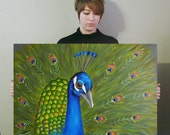 Peacock painting, bird art home decor, wall hanging 24x36 LARGE colorful canvas