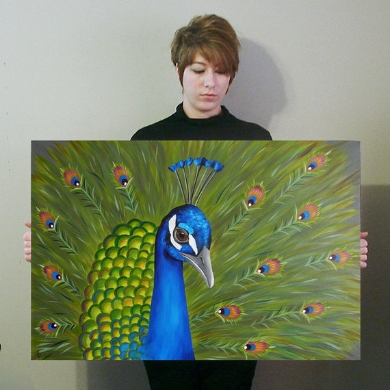 Sale Free Shipping Peacock Painting Bird Art Home By Canvasdove